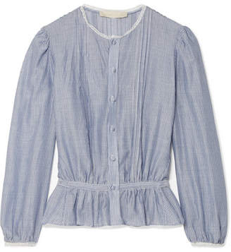Vanessa Bruno - Ikola Lace-trimmed Striped Cotton And Tencel-blend Blouse - Blue