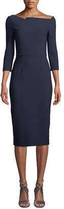 Roland Mouret Witham 3/4-Sleeve Asymmetric Boat-Neck Dress