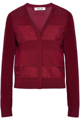Diane von Furstenberg Guipure Lace And Open Knit-Paneled Wool Cardigan