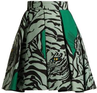 Valentino Tiger Print Wool And Silk Blend Skirt - Womens - Green Print