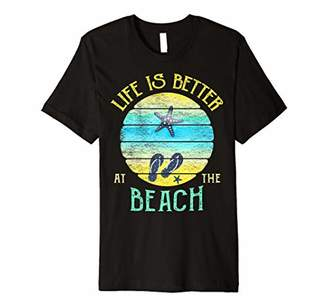 Life is Better at the Beach Vacay Flip Flops Vacation Vibes Premium T-Shirt