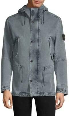 Stone Island Washed Hooded Denim Jacket