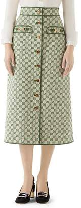 Gucci Leather Trim GG Canvas Skirt
