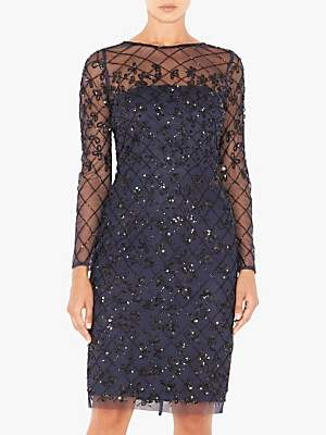 Adrianna Papell Short Beaded Dress, Blue/Black