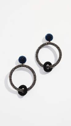 Oscar de la Renta Two Tone Beaded Double Hoop Earrings