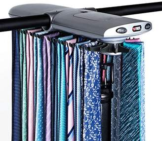 Motorized Tie Rack w/ Dual LED Lights - Electric Motor Automatically Rotates Up to 72 Ties & 8 Belts