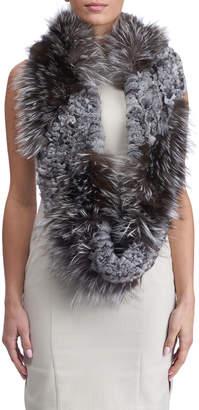 Gorski S-Cut Fox & Chinchilla Fur Infinity Knit Scarf