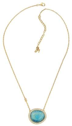 Adore Gold Plated Blue Swarovski Graphic Crystal Inlay & Pave Halo Pendant Necklace
