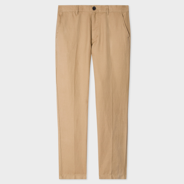 Paul SmithMen's Tapered-Fit Sand Cotton-Linen Chinos