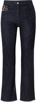 Michael Kors Calf Hair-trimmed High-rise Straight-leg Jeans