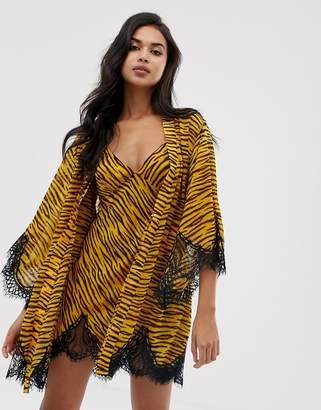 Savage X Fenty Savage x Fenty animal print chiffon short kimono robe in natural tiger