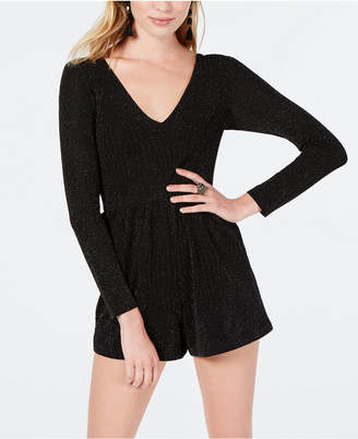 Trixxi Juniors' Long-Sleeve Glitter Romper