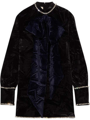 Gucci Swarovski Crystal-embellished Embossed Velvet Top - Black