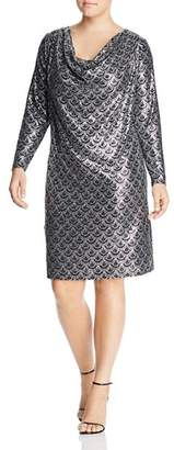 MICHAEL Michael Kors Printed Metallic Cowl-Neck Dress