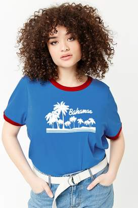 Forever 21 Plus Size Bahamas Graphic Ringer Tee