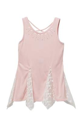 Beautees Pearl Neck Detail Flowy Tank (Big Girls)