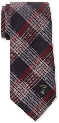 Versace Navy & Red Plaid Silk Tie