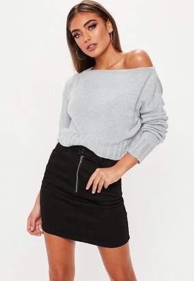 Missguided Brushed Off The Shoulder Knitted Jumper
