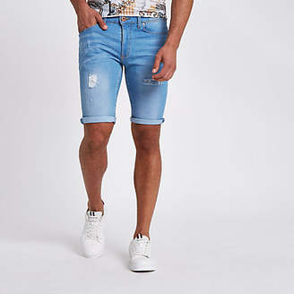 River Island Light blue wash skinny ripped denim shorts