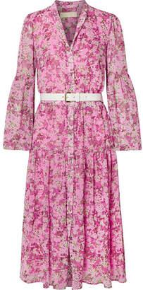 MICHAEL Michael Kors Belted Tiered Floral-print Chiffon Midi Dress - Pink