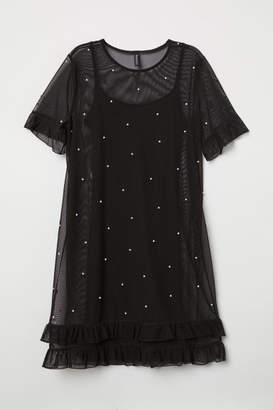 H&M Mesh Dress with Beads - Black