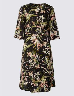 Marks and Spencer PETITE Floral Print Fit & Flare Midi Dress