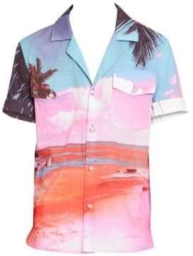 Balmain Beach-Print Short-Sleeve Shirt