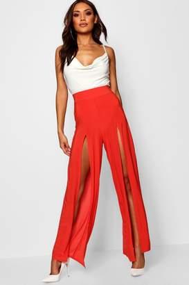 boohoo Slinky Extreme Split Wide Leg Trouser