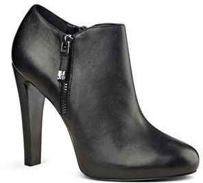 Nine West Binnie Leather Ankle-Length Booties $139 thestylecure.com