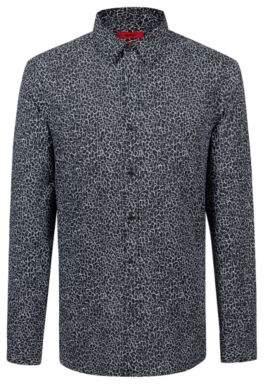 HUGO Boss Extra-slim-fit cotton shirt pigment-print pattern M Black