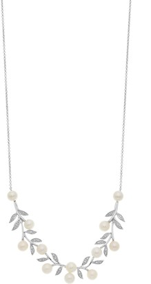 Vera Wang Simply Vera Sterling Silver Freshwater Cultured Pearl & Diamond Accent Branch Necklace