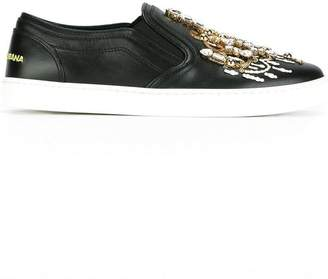 Dolce & Gabbana candlestick embellished slip-on sneakers