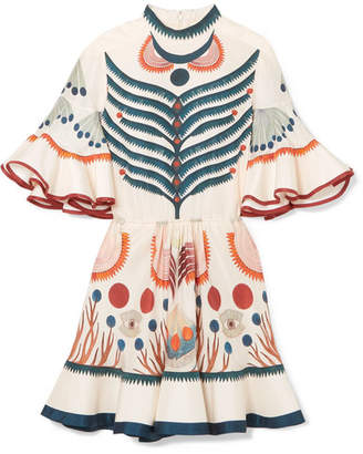 Chloé - Ruffled Printed Silk Mini Dress - Ivory