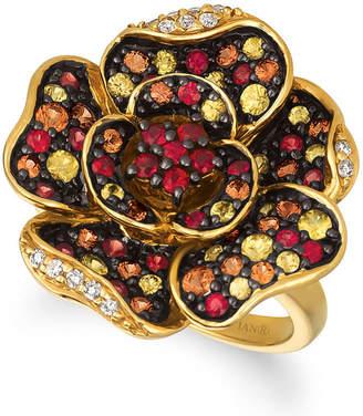 LeVian CORP Grand Sample Sale By Le Vian Orange Sapphires & Sunny Yellow Sapphires, 1/10 CT. T.W. Vanilla Diamonds 14K Honey Gold Ring
