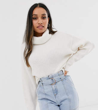 Asos DESIGN Petite fluffy jumper with cowl neck in recycled blend