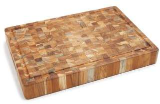 Proteak Teakhaus by Butcher Block Rectangle End-Grain Cutting Board with Hand Grip and Juice Canal