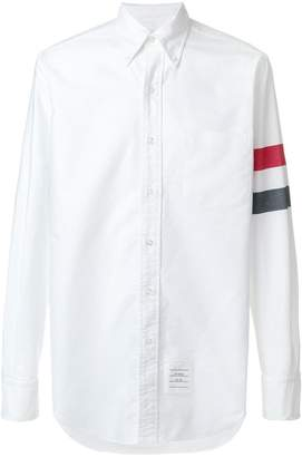 Thom Browne Classic Long Sleeve Point Collar Button Down Shirt In Solid Oxford With Woven Red, White And Blue 3-Bar