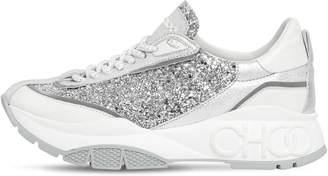 Jimmy Choo 30mm Raine Glitter & Leather Sneakers