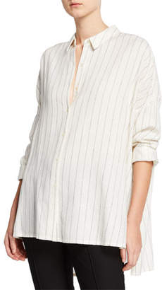 Eileen Fisher Petite Striped Gauze Button-Front Classic Collar Boxy Shirt