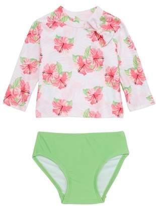 Sol Swim Hibiscus Splash Two-Piece Rashguard Swimsuit