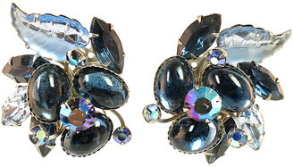 One Kings Lane Vintage 1950s BeauJewels Sapphire Glass Earrings - Neil Zevnik