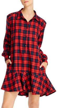 Aqua Ruffled Plaid Shirt Dress - 100% Exclusive