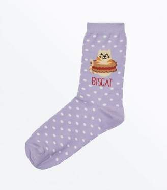 New Look Lilac Biscat Slogan Socks