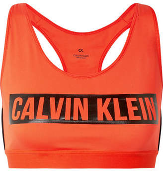 Calvin Klein Printed Stretch Sports Bra - Bright orange