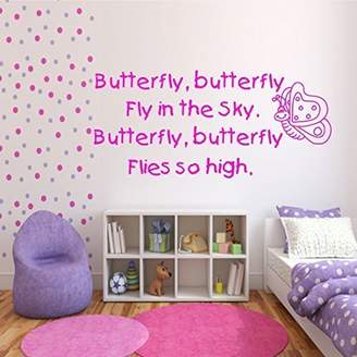 Mural Kid's Butterfly Poem Child's Wall Art Quote Sticker Decal Stencil Wsd427