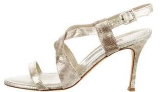 Manolo Blahnik Metallic Leather Ankle Strap Sandals