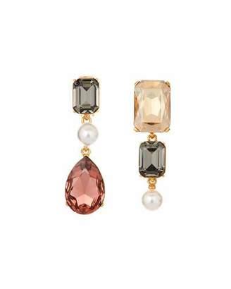Oscar de la Renta Mismatched Bold Crystal Earrings