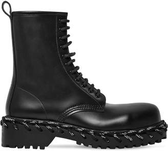 Balenciaga 40mm Laces Leather Combat Boot