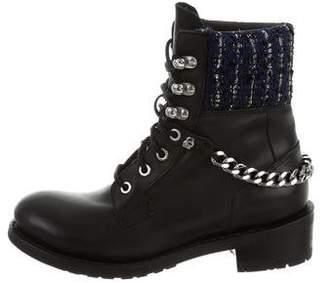 Karl Lagerfeld Tweed-Paneled Combat Boots
