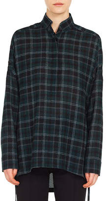 Akris Punto Button-Front Long-Sleeve Brit-Check Wool Blouse